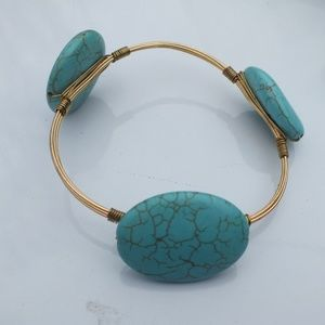 Bangle Bracelet with Copper and Blue Color Accents